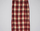 Plaid Redish Eddie Bauer Long Skirt