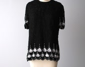V i n t a g e black SILK TOP beaded with white sequin and beads size Medium