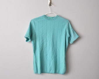 V i n t a g e 60s knitwear TEAL TOP by Keneth Knits size Medium