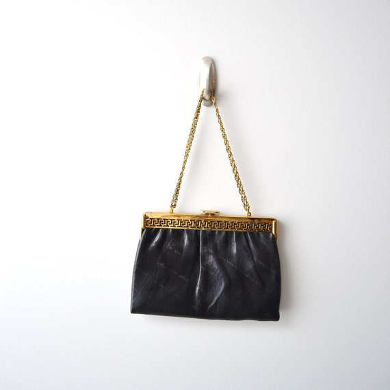 Vintage Leather Handbag / evening clutch,