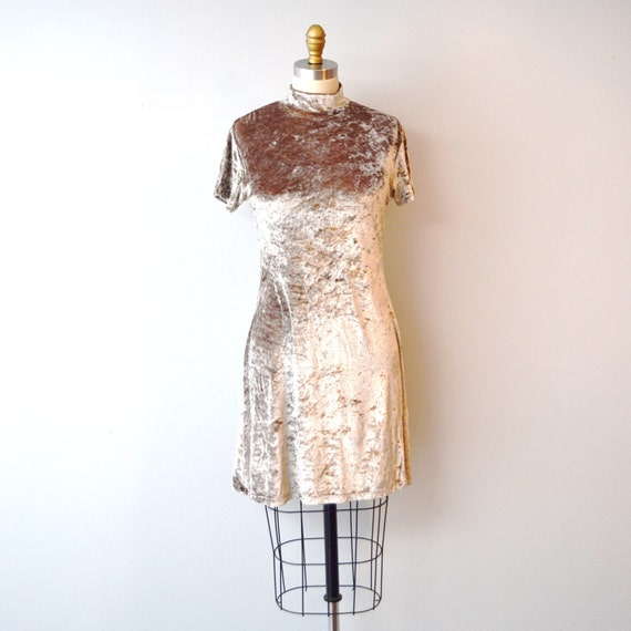 Vintage Henri Bendel DRESS Brown Velour babydoll A line Mini size M