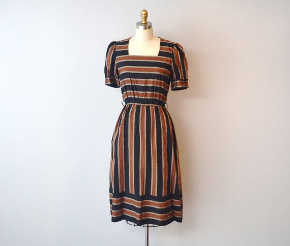 Vintage Natural stripes cotton Dress size aprox M/L