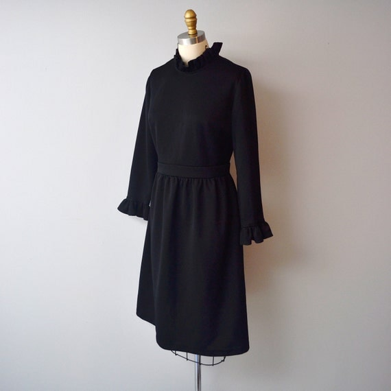 Vintage Black 1970s Ruffle Dress size aprox 8 by Andrea Gayle