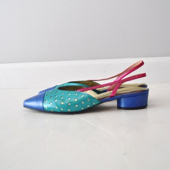 Vintage color block sling back LEATHER shoes size aprox 7 US