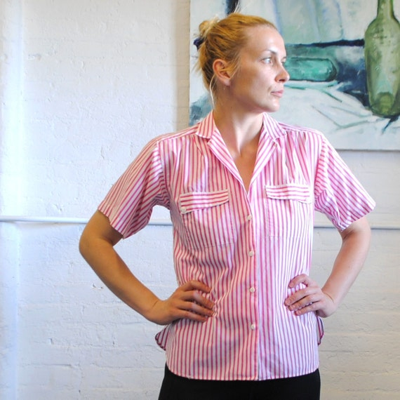 V i n t a g e Pin Stripe Shirt Cotton pink and white by AVERROE short sleeve