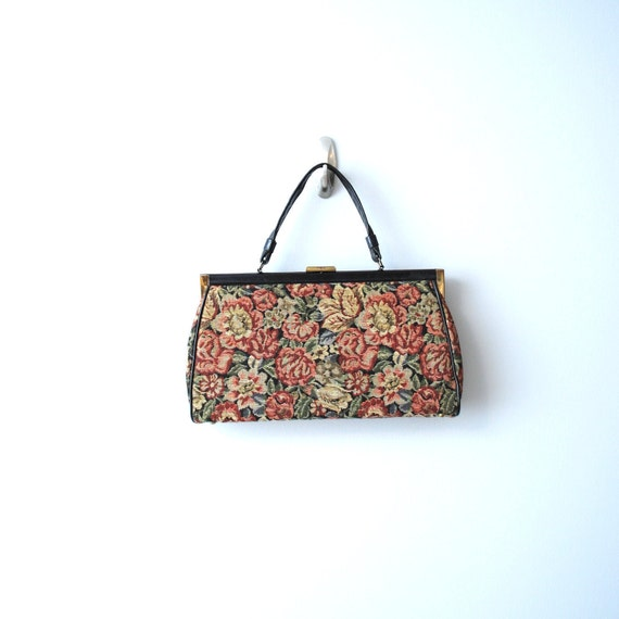 on hold for Mairi...Vintage Tapestry Purse circa 1950s