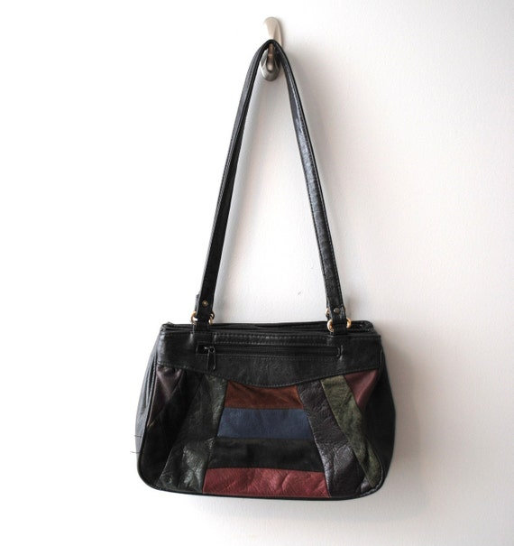 Vintage 1980s Shoulder Bag Black Leather with Patchwork in the front
