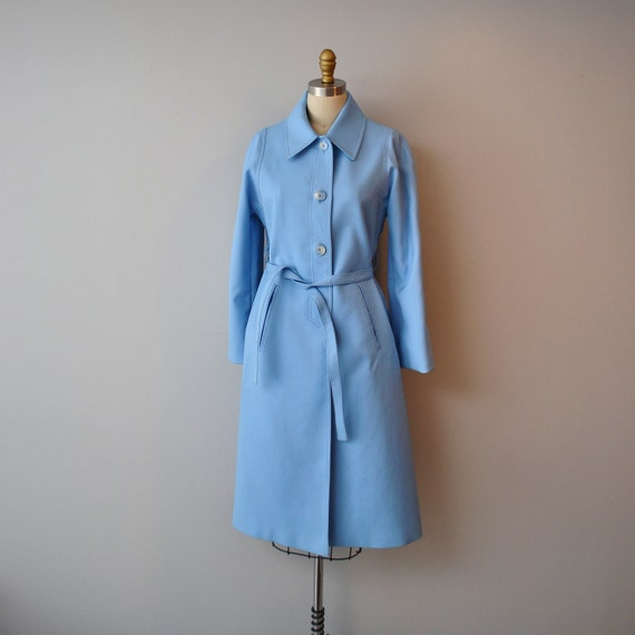 MAD MEN London Fog Trench Coat in Baby Blue size aprox Medium, Spring Fashion Trend 2012