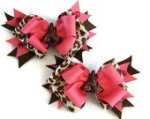 Candy Hair bows Pig Tail Set of 2 Pink and Brown Leopard Print Ribbon, Rhinestones, and Chocolate Kiss Centers
