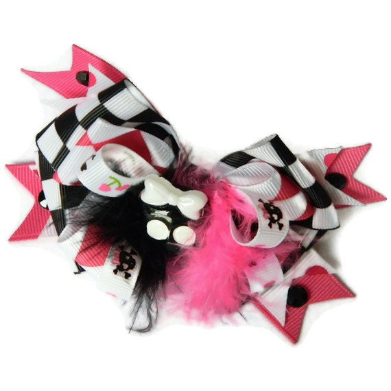 Rocker Hair bow Black and White Checker, Pink and White Jester, Scully Bow, Feathers, Rhinestones and Black and White Scully Center