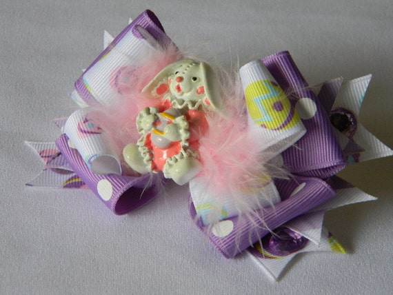 Easter Hair Bow, Easter Bunny Bow Purple and White with Easter Egg Print Ribbon, Pink Marabou Feathers, Rhinestones and Easter Bunny Center.