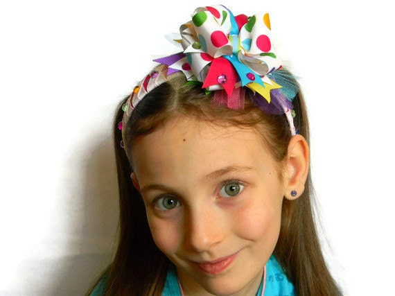 Bow Headband, Fancy White Bow with Multi Colored Jumbo Polka Dot Ribbon on Wrapped Headband, Tulle, Ribbon Spikesand Jewels.