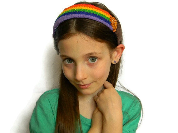 Rainbow Headband, Handmade Colorful Felt Rainbow and Pot of Gold and Cloud on a Ribbon Wrapped Headband with Gold Colored Jewels