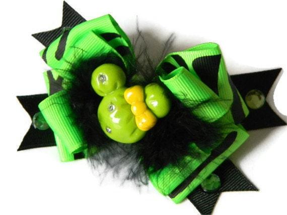 "Minnie Hair bow  ""Animal Print Minnie""  Neon Green and Zebra Print Bow, Marabou Feathers, Ribbon Spikes, Rhinestones and Minnie Center"