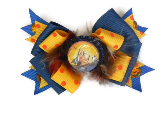 Pocahontas Hair bow on Bottle Cap Orange,  and Blue Polka Dot Print Ribbon Bow, Feathers, Rhinestones and Ribbon Spikes
