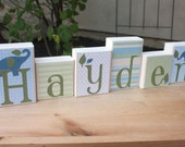 Elephant name block set with your initials or any other name- Hayden - elephant