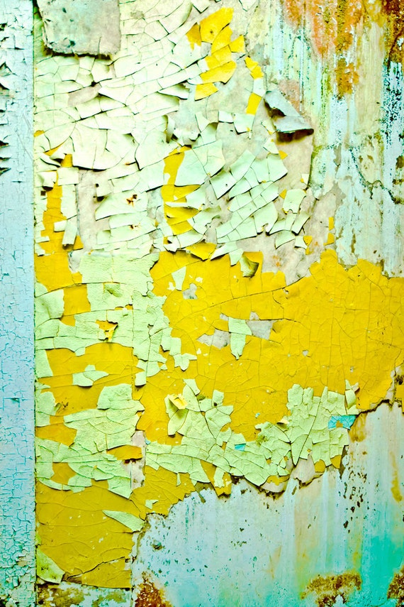 Distressed Wall Art Peeling Paint Photograph yellow green blue