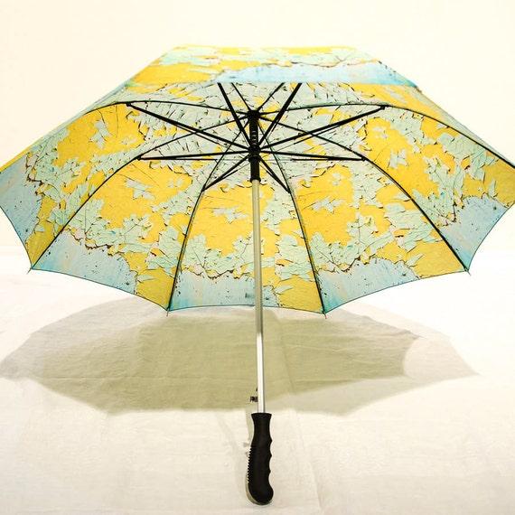 IN STOCK Peeling Paint Photo Umbrella, Yellow Green Aqua Unique Gift