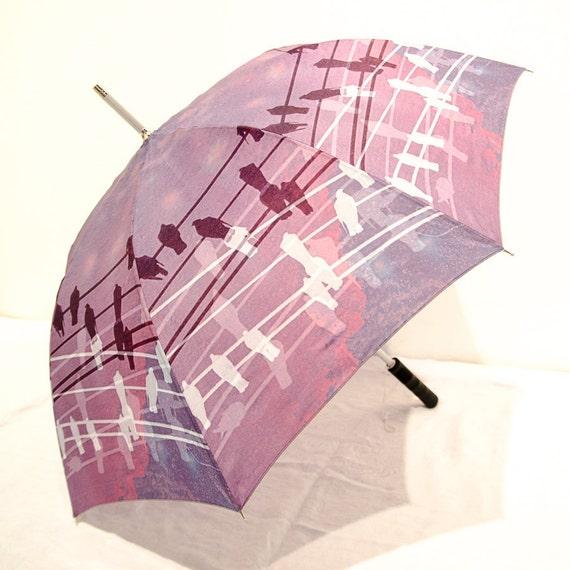 IN STOCK Purple Birds on Wires Photo Umbrella - Unique Gift Lavender Romantic