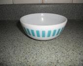 Vintage Hazel Atlas Turquoise Candy Stripe Cereal Bowl