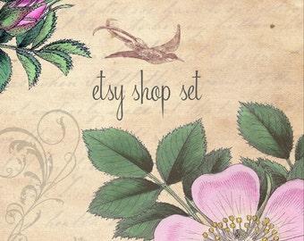 Vintage Garden 3 - Etsy Shop Set