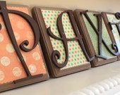 """6 Wooden Letters Name Set. Custom Colors. Made to Order - Set of Six 7"""" INCH - Nursery, Child's Room, Home Decor, Showers, Gifts"""