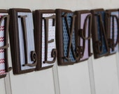 """9 Wooden Letters Name Set Custom Colors Made to Order - Set of Nine 7"""" INCH - Nursery, Child's Room, Home Decor, Showers, Gifts"""