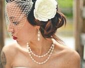 Birdcage Veil - Bandeau Veil - Ivory Wedding Blusher - French Netting Veil -  Ivory White or Black Veil - Bird cage Veil - Bandeau Veil