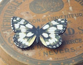 black and cream wooden butterfly brooch.