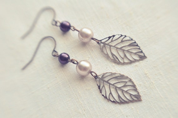 lilac and plum leaf earrings.