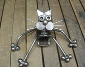 Steel Cat Sculpture. Handmade from found objects.