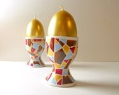 egg cup with hand painted mosaic in maroon, brown, aqua and gold