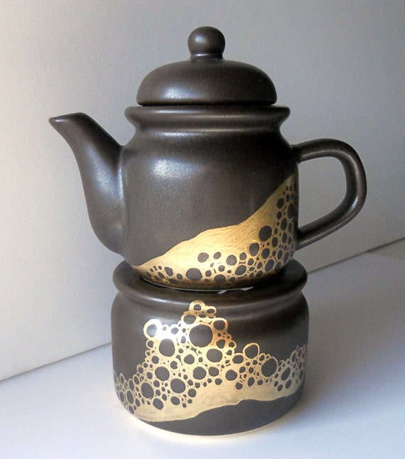 SALE: little TEAPOT and WARMER, brown and gold, one of a kind