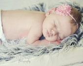 Newborn Headband..Baby Flower Headband..Pale Pink Flower Skinny Headband..Baby Girl Headband..Newborn/Baby/Toddler/Girl