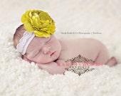 Baby Girl Headbands..Baby Headbands..Green Ruffle Flower Headband..Newborn Headbands..Baby Bow Headband..Any Size