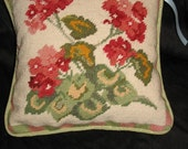 Handmade Needlepoint Red Geraniums Pillow