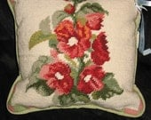 Red Hollyhocks Floral Handmade Needlepoint Pillow