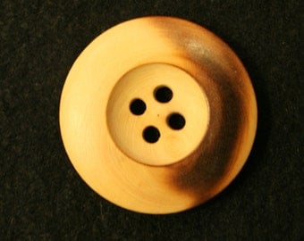 "Large  Natural Wood Buttons 1 1/4"" (31mm) in diameter  Lot of 6"
