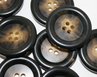 Large Buttons Brown. Brown Buttons. Large brown coat buttons.  Lot of 4