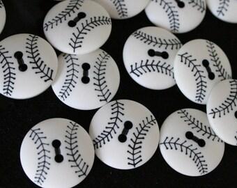 """Baseball Buttons - 2 hole 7/8"""" diameter - Lot of 6"""