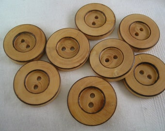 "Wood Button 2 hole lot of 6 Large  Buttons 1- 1/16"" (27mm) in diameter"