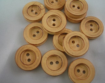"""Wood Button,  2 hole, lot of 15, Sizeis 11/16"""" (17.7mm)"""
