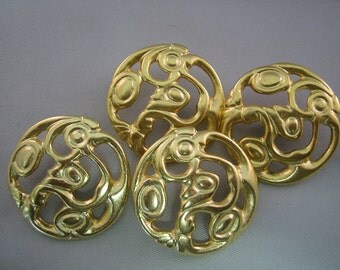 Gold Buttons. Large.   Satin  Lot of 4