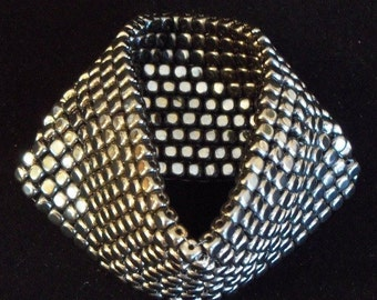 Hematite Cuff  Infinity Stretch Bracelet