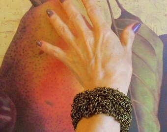 Richly Textured Antique Gold, Bronze & Copper Fringed Infinity Bracelet