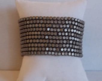 Antique Silver Slate Cuff  Infinity Bracelet