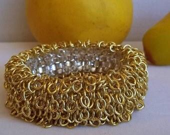 Silvered Gold  Enamel Chain Fringe Infinity Bracelet