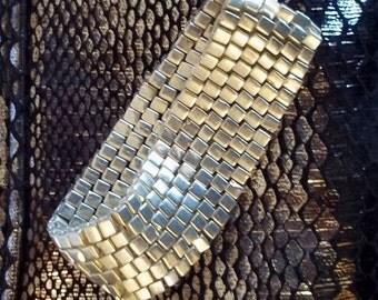Silver Metallic Miyuki Glass Infinity Bracelet