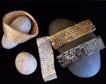 Handwoven Hematite Metallic Miyuki Glass Stretch Infinity Bracelet