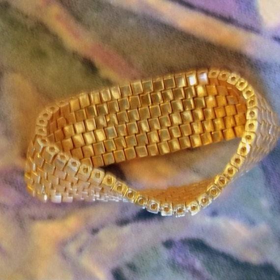 Gold Metallic Miyuki Glass Infinity Bracelet